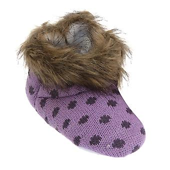 Girls Knit Patterned Boot Slippers With Faux Fur Trim