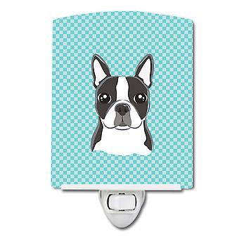 Checkerboard Blue Boston Terrier Ceramic Night Light