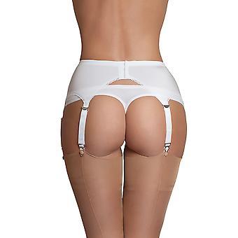 Color sólido blanco correa 6 correa Liga liguero de nylon sueños NDL2 mujeres