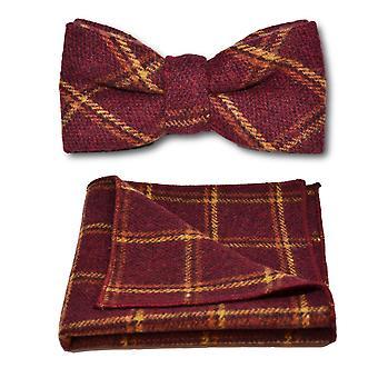 Heritage varm röd Check fluga & Pocket Square Set