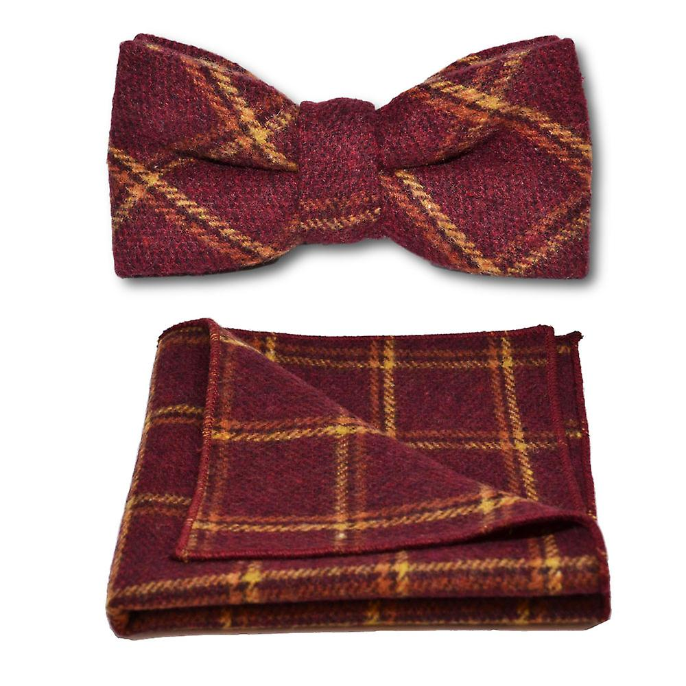 Heritage Warm Red Check Bow Tie & Pocket Square Set