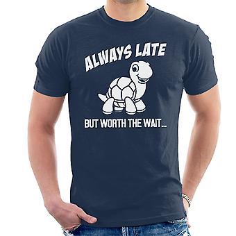 Tortuga siempre tarde pero vale la pena camiseta la espera hombres