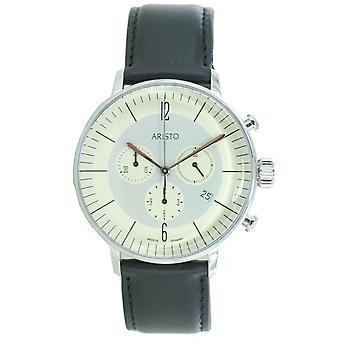 Aristo mens watch chronograph stainless steel 4 H 177 leather