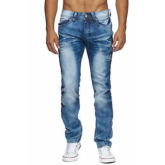 Men Elastic Waist Jeans Stone Washed Tapered Pants Design Regular Fit Trousers