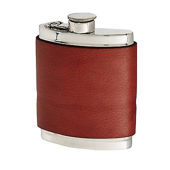 6Oz Red Velvet Leather Captive Top Pewter Flask