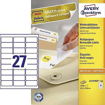 Avery-Zweckform L4737REV-100 Labels 63.5 x 29.6 mm Paper White 2700 pc(s) Removable All-purpose labels Inkjet, Laser, Copier 100 Sheet A4