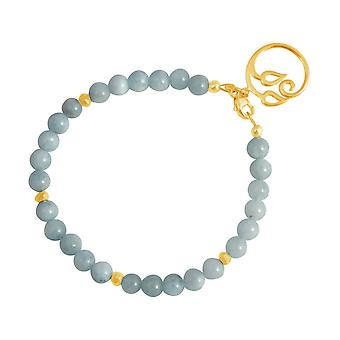 GEMSHINE kvinders armbånd i forgyldt sølv YOGA Lotus blomst akvamarin