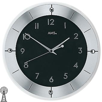 Radio controlled wall clock faceted mineral glass diameter 31 cm