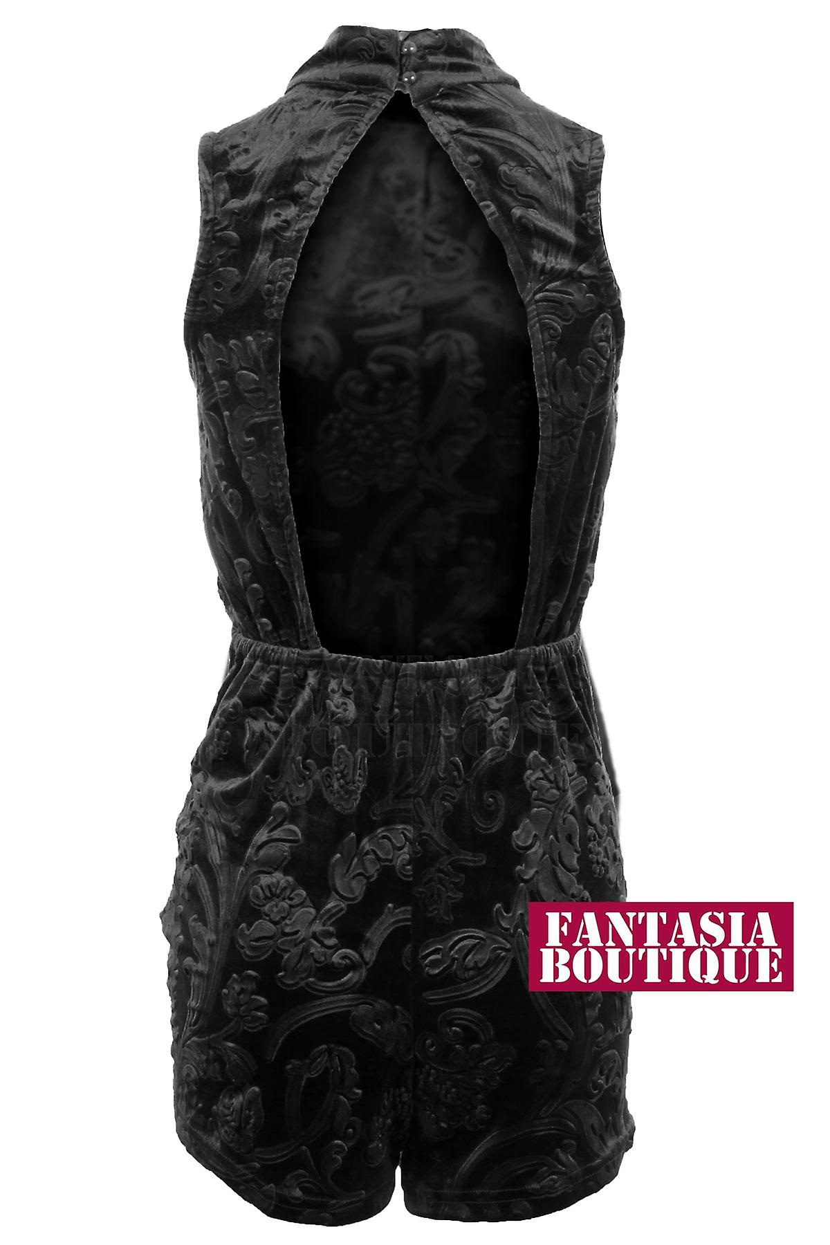 Ladies Paisley Open Back Buttoned Velvet Sleeveless Turtle Neck Women's Playsuit
