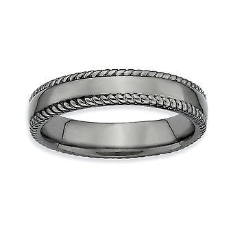 925 Sterling Silber poliert gemustert Ruthenium Plating stapelbare Ausdrücke schwarz plattiert Ring Schmuck Geschenke für Frauen