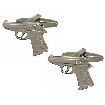 Zennor Walther PPK Gun Cufflinks - Silver