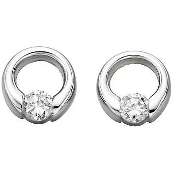 Beginnings Cubic Zirconia Open Disc Stud Earrings - Silver/Clear