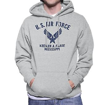 US Airforce Keesler AF Base Mississippi Navy Blue Text Men's Hooded Sweatshirt