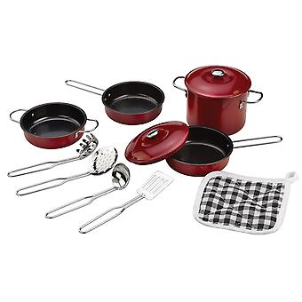 Tidlo Children's Non-Stick Cookware Set (11 Pieces) Roleplay Kitchen Accessories