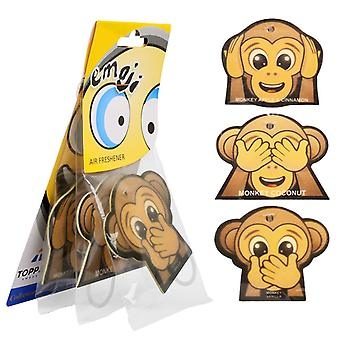 3-Pack Fragrance gran for the car air Freshener Monkey Emoticon Monkey