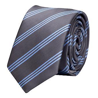 Tie slips tie slips 6cm grå ljusblå randig Fabio Farini
