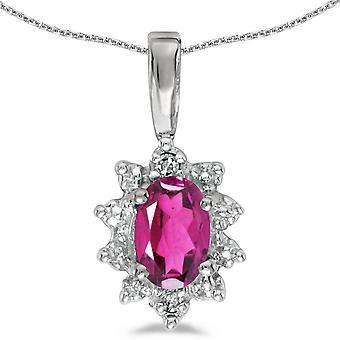 LXR 10k hvidguld oval pink topas og diamant vedhæng 0.43ct