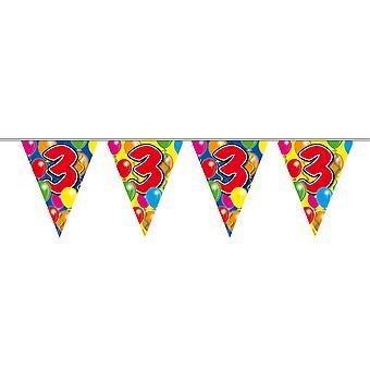 Wimpelkette 10m Zahl 3 Jahre Geburtstag Deko Party Girlande