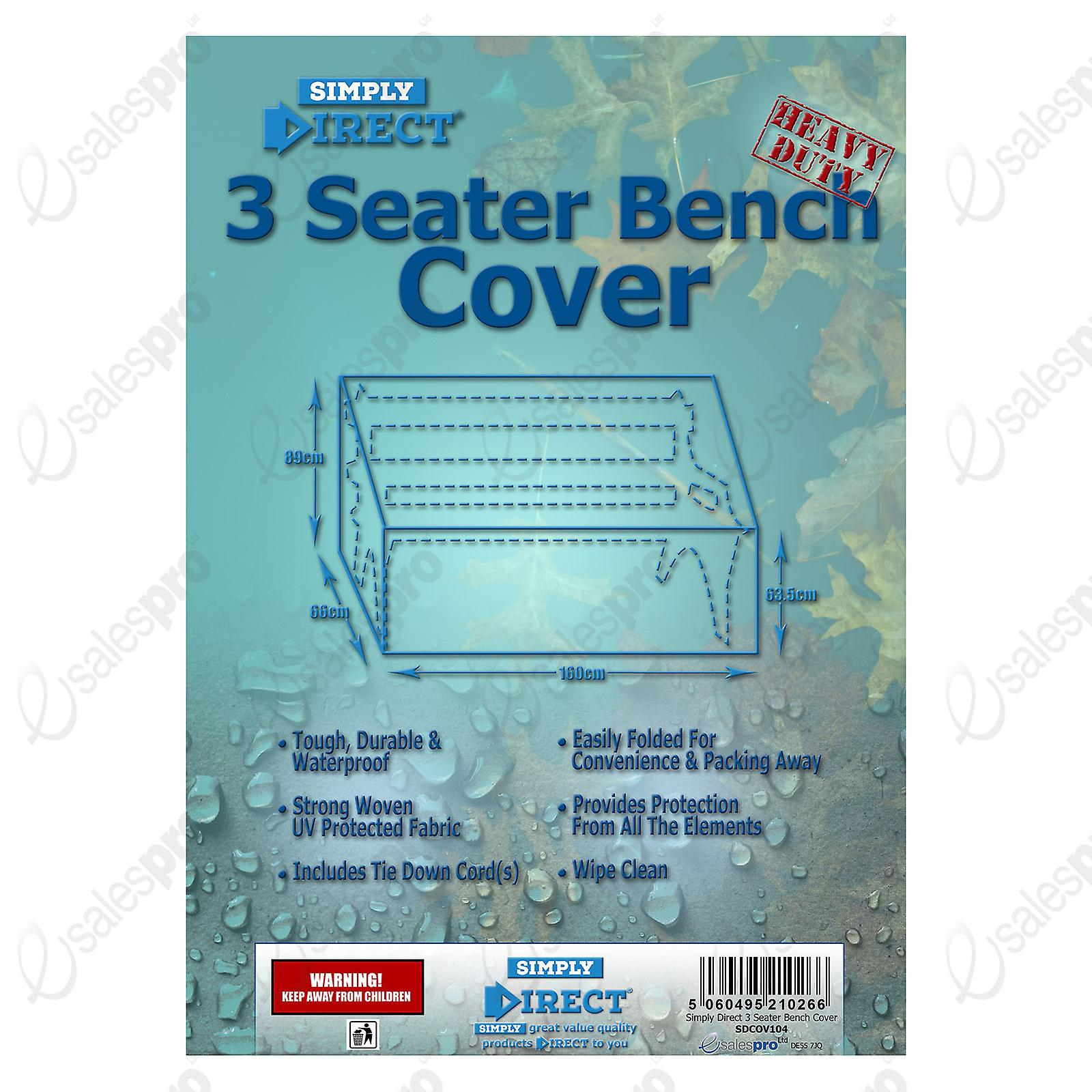 Simply Direct 3 Seater Bench Cover - Waterproof Weatherproof Outdoor Furniture Protector