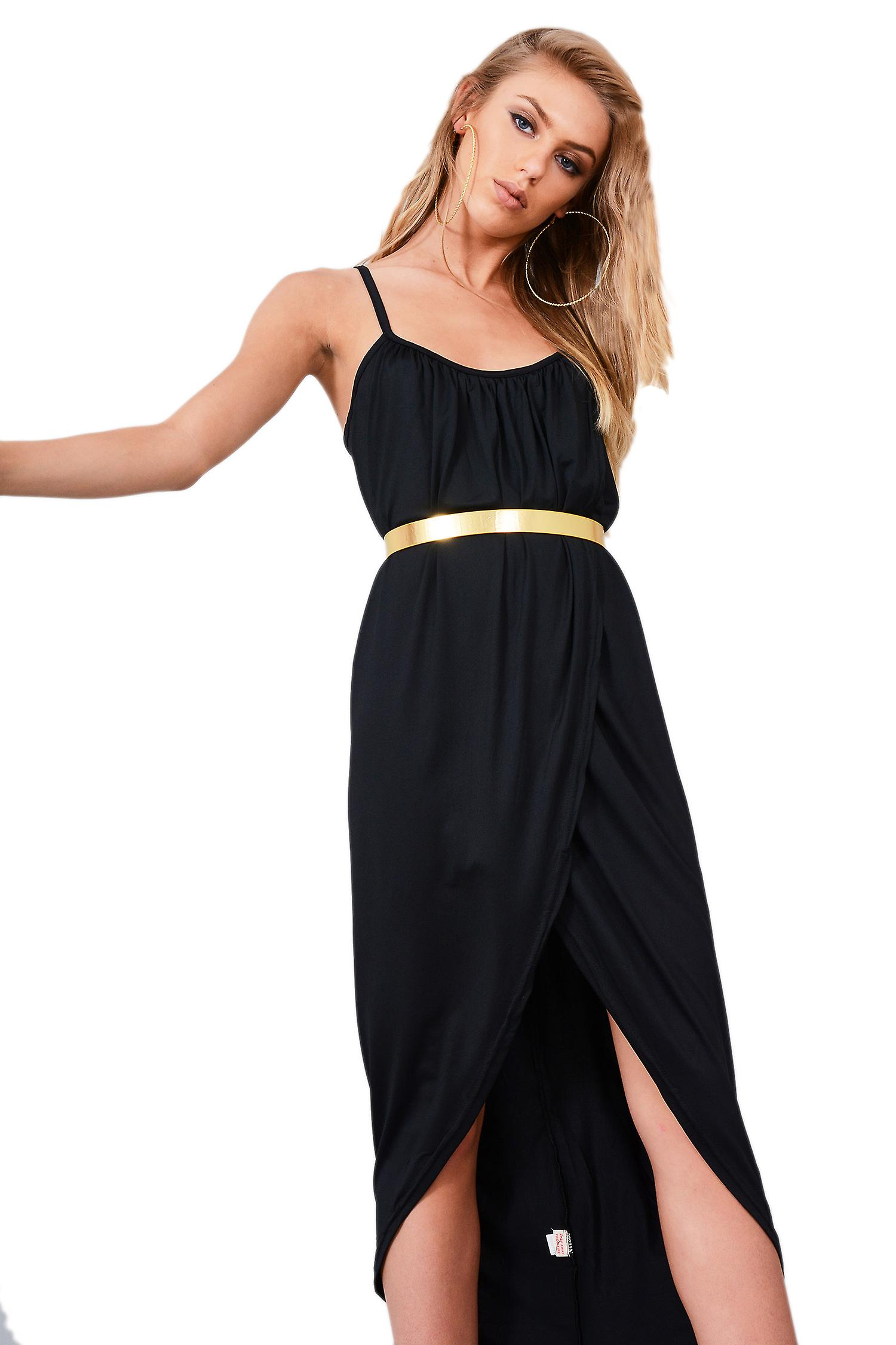 Lovemystyle Black Loose Fit Cami Wrap Dress With Gold Belt