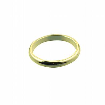 18ct Gold 3mm plain D shaped Wedding Ring Size Z