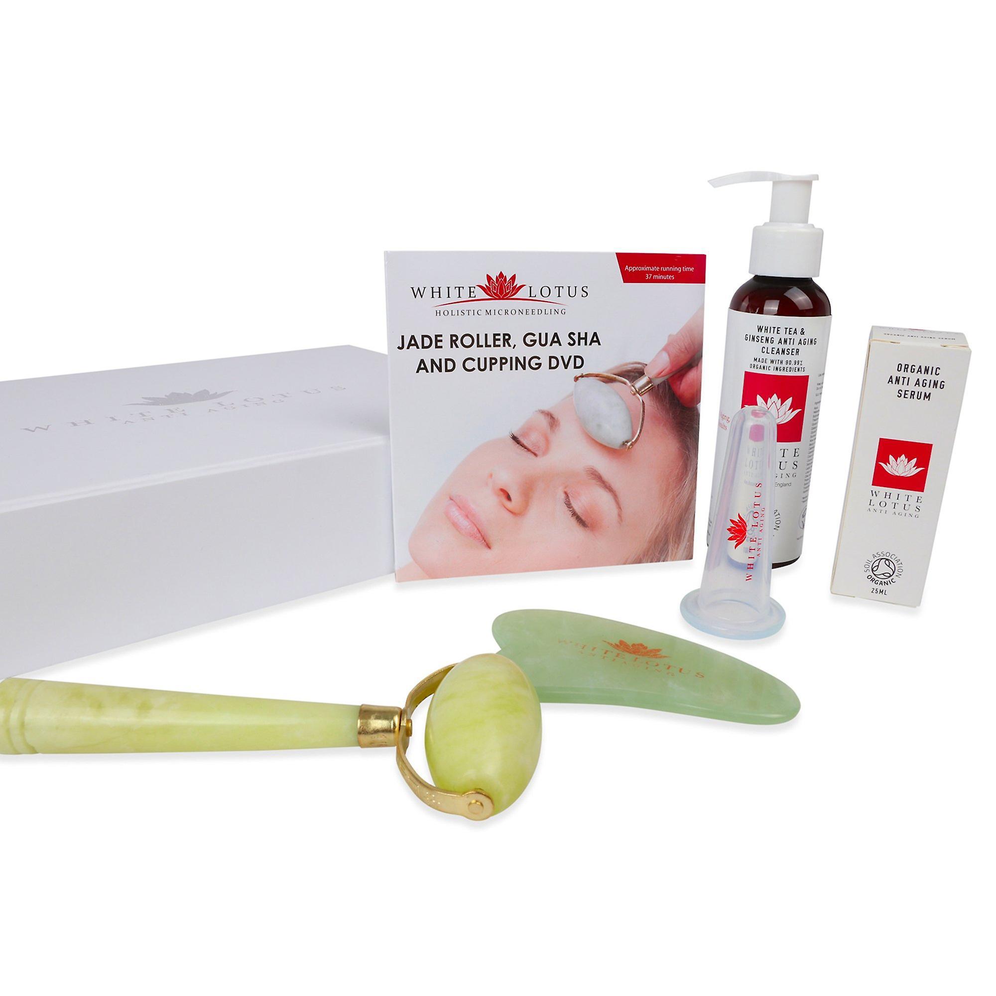 Jade roller, jade gua sha & facial cupping pack - facial anti aging