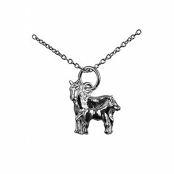 Silver 13x13mm Horse and Foal Pendant with a rolo Chain 24 inches