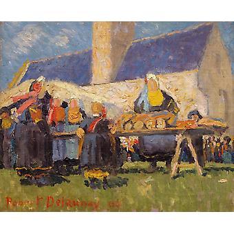 بريتون ق السوق،روبرت Delaunay، 39x46cm
