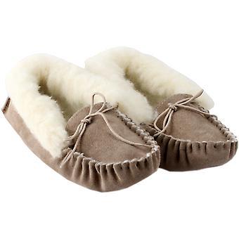 Handgemaakte natuurlijke vrouwen schapenvacht Mocassin pantoffels