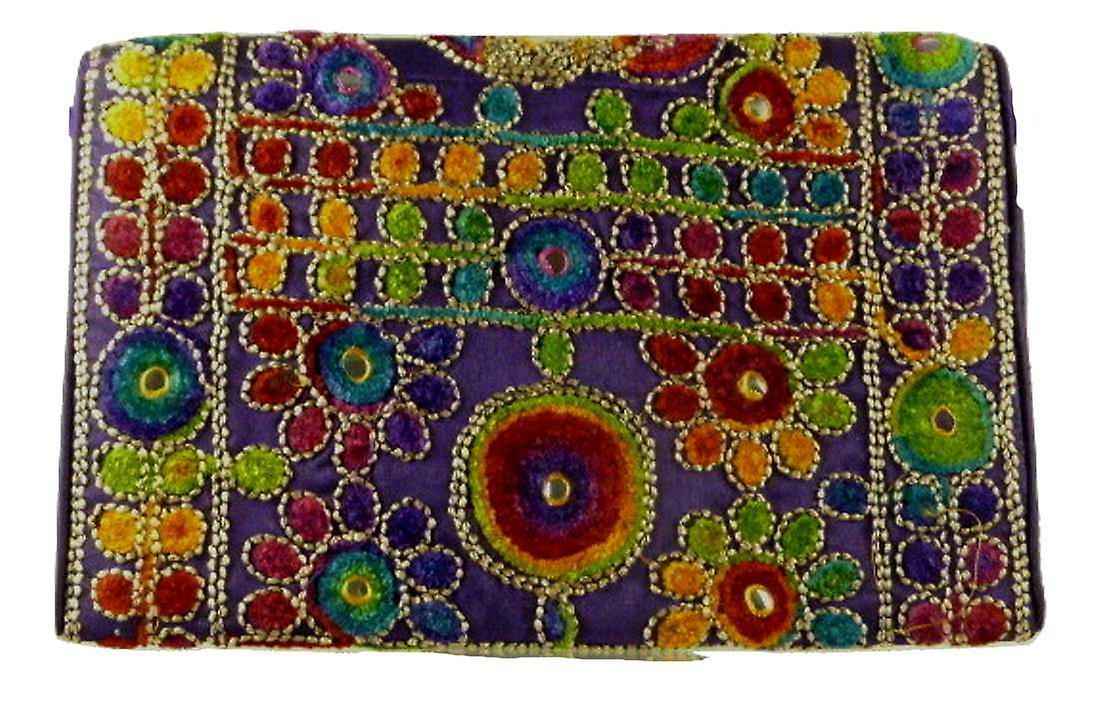 Silk Handbag Peacock Clutch Violet by Silk Sauvage at Pashmina & Silk
