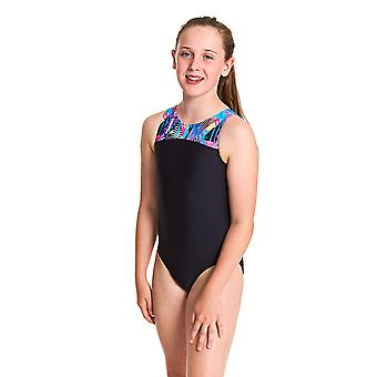 Zoggs Girls Labrynth Infinity Back One Piece Swimsuit - Black/Multi