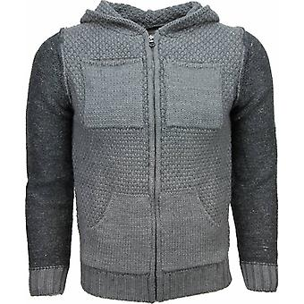 Casual Vest - Knitted Wool Hood Two Colors - Grey