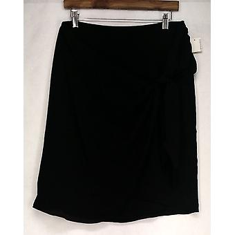 Bar III Skirt Back Zip Faux Wrap Style Chiffon w/ Tie Detail Black Womens