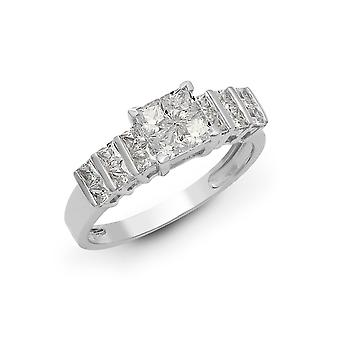Jewelco London Solid 18ct White Gold Tension Set Princess G VS 1.18ct Diamond Stairway to Heaven Engagement Ring 6mm