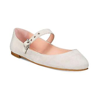 Avec Les Filles Womens renee Suede Almond Toe Ankle Strap Mary Jane Flats
