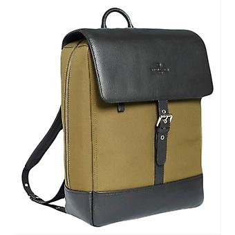 Simon Carter Ramsgate Canvas and Leather Backpack - Green/Black