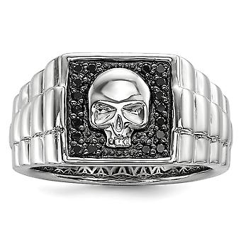 925 Sterling Silver Polished Prong set Black Diamond Square Skull Mens Ring Jewelry Gifts for Men - Ring Size: 9 to 11