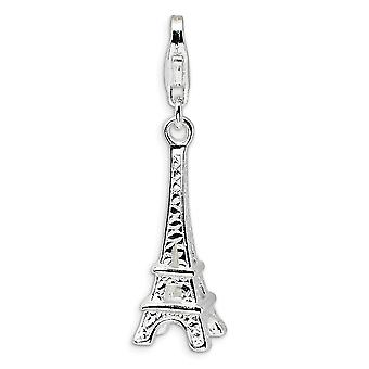 925 Sterling Silver Rhodium banhado Fancy Lobster Closure Polished Eiffel Tower with Lobster Clasp Charm Pendant Necklace