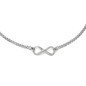 925 Sterling hopea kiillotettu Rhodium päällystetty fancy hummeri sulkeminen infinity symboli kaula koru-18 tuumaa