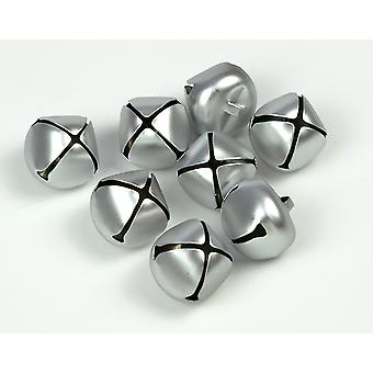 8 Matt Silver 25mm Jingle Bells for Crafts