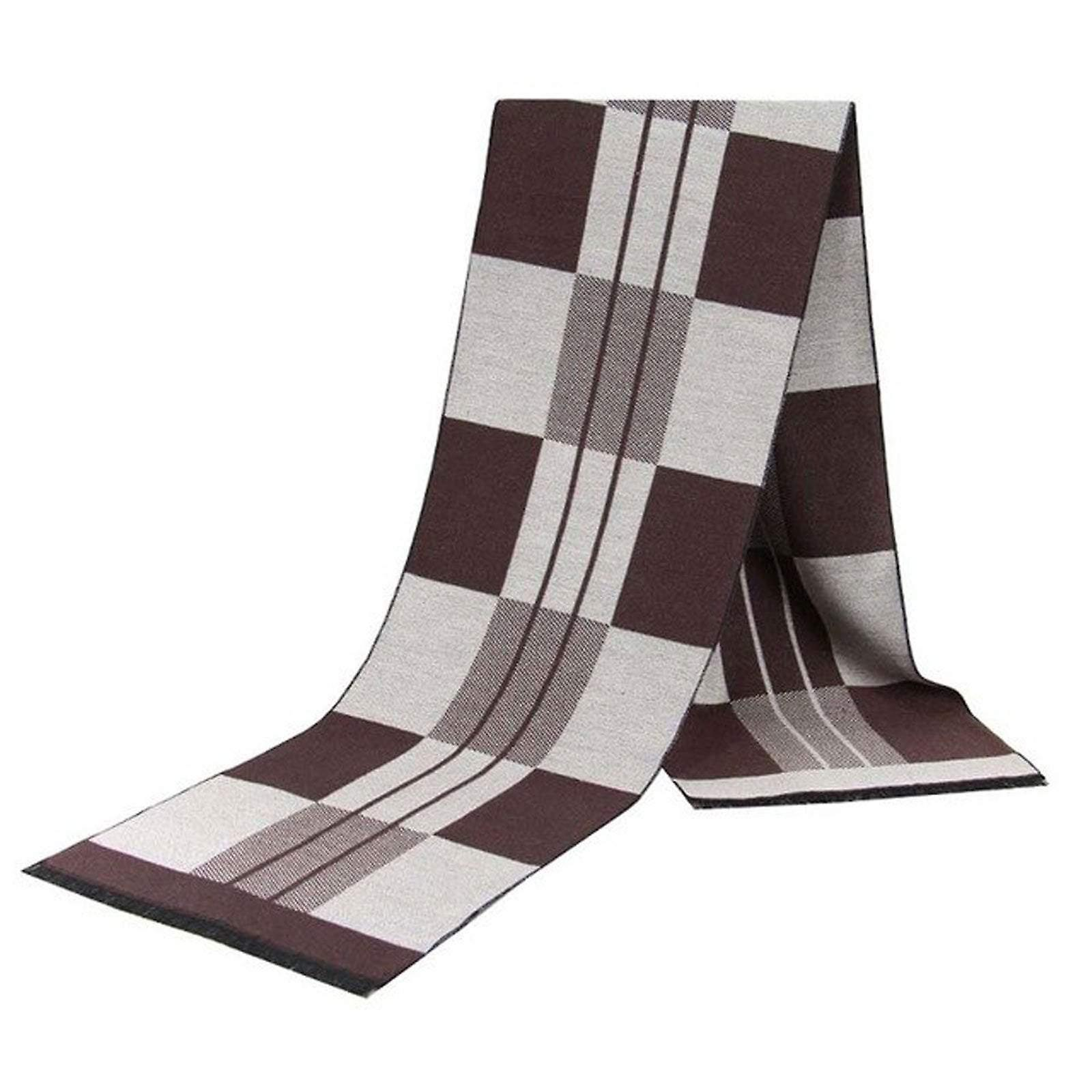Oat & brown square pattern luxury bamboo men's scarf