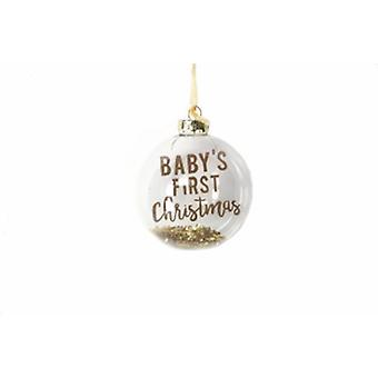 Gisela Graham Baby's First Christmas Gold Bauble|Handpicked Gifts