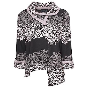 Frank Lyman Roll Collar Asymetric Knitted Jacket