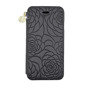 iPhone 6/6s - 4.7 Inch Nappa Embossed Camellia Folio Hard Shell Black