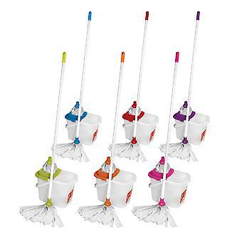 Charles Bentley Bright Mop & Bucket mit Nachfüllen mit Abrasiv-Mop-Streifen entfernbaren Wringer-Verschiedene Farben