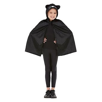 Childrens Halloween kat Hooded Cape (one size)