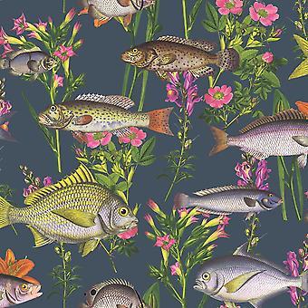 Lagune vis behang Midnight Blue wereld van behang 50150