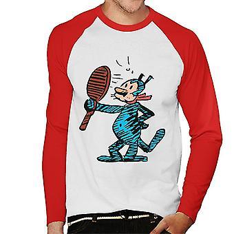 Krazy Kat Mirror Blue Men's Baseball Long Sleeved T-Shirt