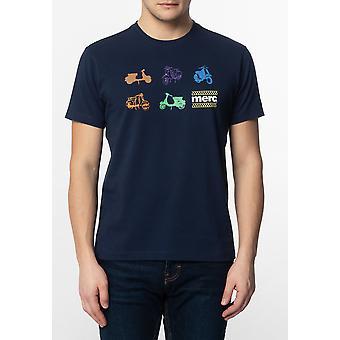 Merc Halford, mannen ' s katoen T-shirt met kleine scooters pictogrammen afdrukken