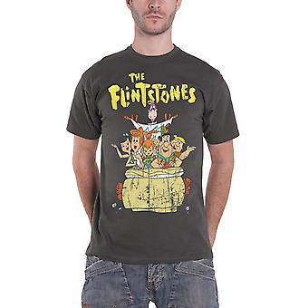 The Flintstones T Shirt Distressed Flintstone Family Official Mens New Charoal